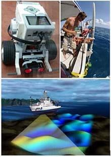 Three images: People on a boat deploy sonar transducers into the ocean waters. An artist's rendering shows an ocean ship beaming sound waves below the water surface in order to detect the sea floor terrain. A photograph of a LEGO MINDSTORMS EV3 robot with an ultrasonic sensor attached at the front between two wheels.
