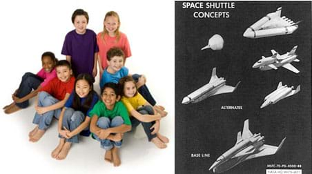 "Two images: A group of eight young students smile at the camera, looking like a happy team. An old black and white drawing titled ""space shuttle concepts,"" shows one ""base line"" rendering of a reusable spacecraft and five very different ""alternate"" designs."