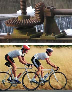 Two photos: Two steel gears positioned perpendicular to each other with teeth that fit together and long shafts extending from the centers of each. Side view of two cyclists in helmets and shorts riding road bikes on a country road.