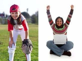 Two photographs: A young girl in baseball clothing and cap waits in the outfield with a baseball mitt. A girl sitting cross-legged with a laptop and both hands raised in victory.