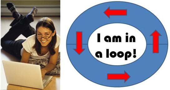 "Photo shows a girl lying on the floor, working on a laptop computer. A diagram with the words ""I am in a loop!"" surrounded by a blue oval-shaped ring with four red arrows pointing in a counter-clockwise direction."
