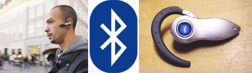 Three images: A man walks along a busy street with a device clipped around his ear. The Bluetooth logo, which looks like a white, pointy letter B with tail feathers, on a blue oval background. A photograph of a Bluetooth cell phone headset, a thumb-sized silver device with a hooked part that fits over a person's ear.