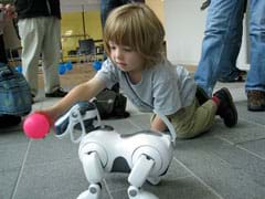 Photo shows child playing with a robot dog (AIBO ERS-7).