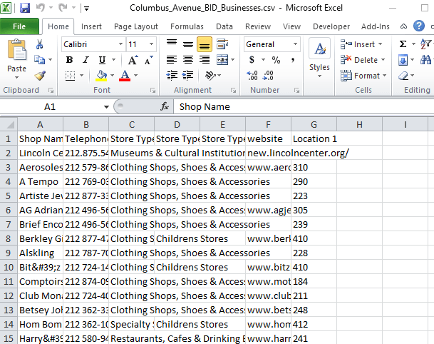 A screen capture of an Excel spreadsheet shows columns of CSV data.