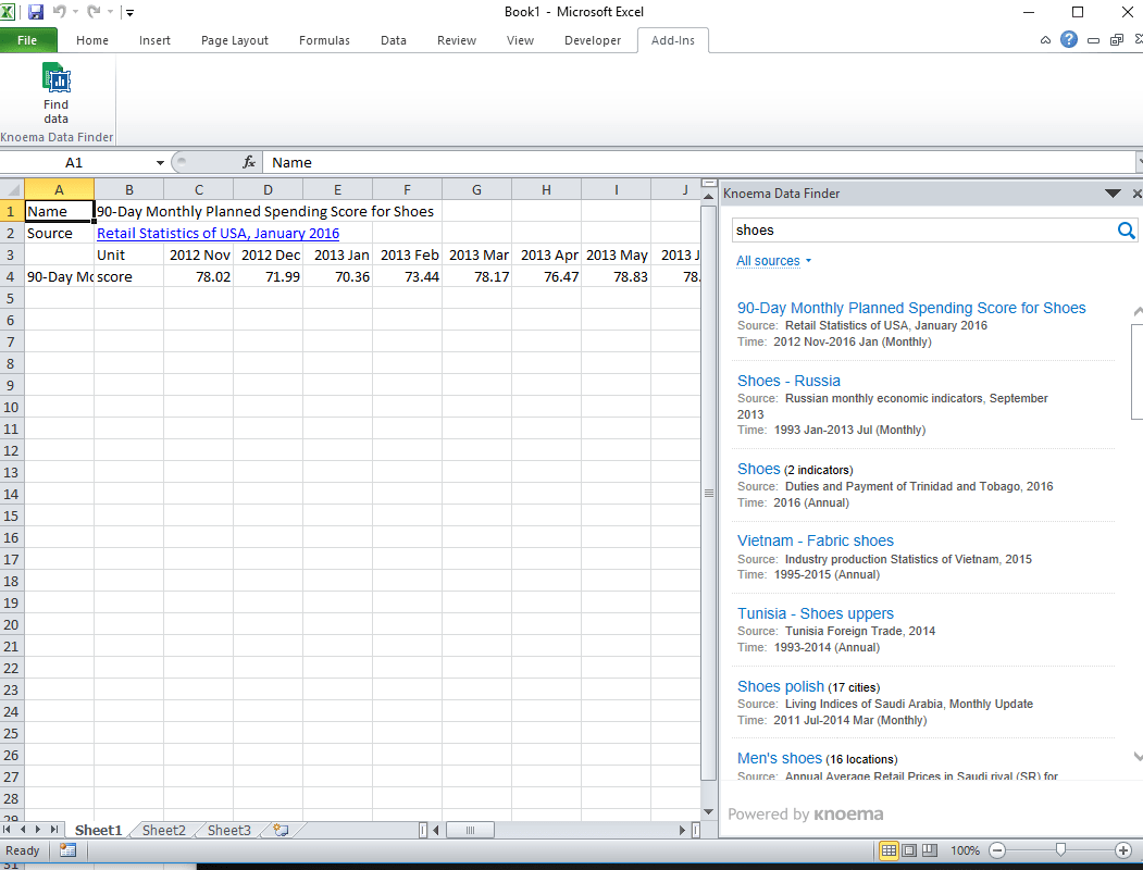 "A screen capture shows an Excel spreadsheet with Knoema add-in search results for a ""shoes"" query."