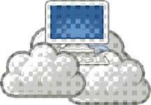 A graphic image shows a computer monitor and keyboard resting in a few fluffy white and gray clouds.
