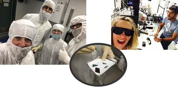 Three photographs: Four researchers, teachers and students wearing white bunny suits in advance of entering a clean room. A researcher holds a pan containing four solar cells prepared for further research; they look like sharp shapes of silver metal. (right) A researcher and a teacher work in a laser lab to characterize solar cells.