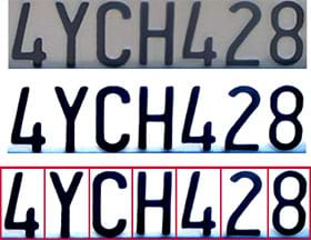 Three images of the license plate number 4YCH428. The first image shows black letters on a gray background. Next, the background is white. Then, each letter/number has a red box around it.