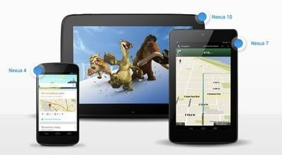 Photo shows three different Android devices that can be used in the activity: Nexus 4, Nexus 10 and Nexus 7.