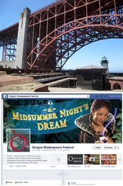 Two images: A photograph shows an arched metal truss structure supporting a portion of the end of a bridge deck. A screen capture shows the Facebook page for the Oregon Shakespeare Festival.