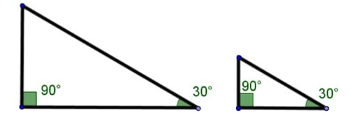 A drawing of two similar acute right triangles. One set of acute angles are marked as 30 degrees.