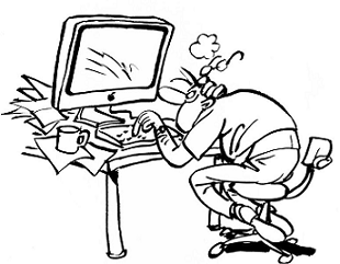A sketch of a person working furiously at a computer trying to figure out what is wrong.