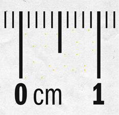An up-close image of ruler markings of 0 cm and 1 cm, with small lines indicating each tenth of a centimeter. Barely noticeable yellow dots are scattered between 0 cm and 1cm.
