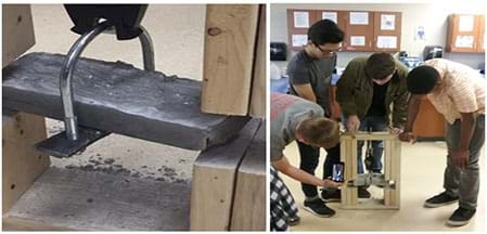 Two photographs show a silver/gray-toned composite block clamped down with two pieces of wood being tested in a classroom setting.