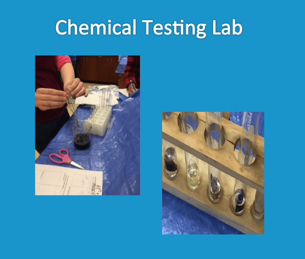 Two images show students labeling and testing substrates in a laboratory setting.