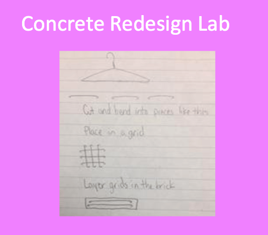 A student sketch on lined notebook paper detailing a concrete block redesign with a new composite.