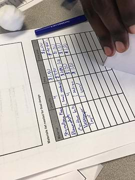 A photograph shows a student creating his material list for the soundproof activity to make sure that he is staying under budget.