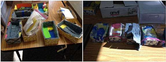 Two photographs show examples of student groups' final project designs; multiple shoeboxes are lined with materials including felt, plastic, and foil.