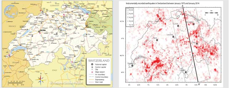 Two side-by-side photographs showing maps of Switzerland (left) and detailed Switzerland seismic activity (right).