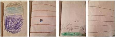 A series of four photographs show four pages with hand-drawn pictures. The first drawing shows an oval shape—a shell—filled in with varying bands and textures in three different colors (purple, blue, brown). The next drawing shows a small version of the first oval shape, now coin-sized with a background of five brown horizontal lines. The next drawing shows a shoreline with trees, beach and sand and an even smaller round image. The final drawing shows the original shell now as a tiny dot on a broad expanse of white space with five brown horizontal lines.