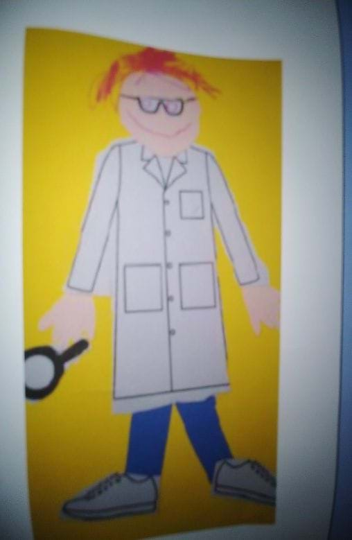 Poster of a man in white lab coat and blue pants.