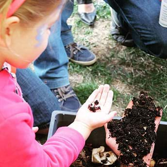 Image of a girl standing near a garden bed with compost in it. The girl is using her sense of touch to feel the soil made from composting.