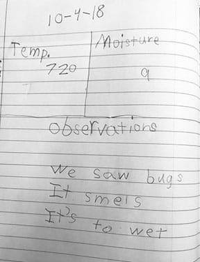 Image of a student's observations and data in their lab notebook. The page is divided into three sections: temperature, moisture, and observations. This student recorded their group's compost bin had a temperature of 72 degree, a moisture level of 9 (out of 10), and their observations were: we saw bugs, it smells, and it's too wet.