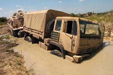 A brown military truck is stuck in deep mud.