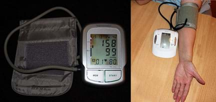 Two photographs: A portable blood pressure monitor (automatic brachial sphygmomanometer) looks like a palm-sized plastic device with memory and start buttons and a display screen, plus a thin tube connected to a wide nylon strap with Velcro patches. The display shows grade 2 arterial hypertension (systolic blood pressure 158 mmHg, diastolic blood pressure 99 mmHg) and heart rate of 80 beats per minute. A similar device with the Velcro cuff strapped tightly around a person's arm to measure blood pressure.