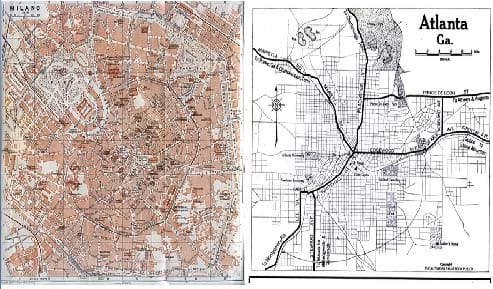 Two maps: (left)  In the Milano map, streets are laid out in a circular fashion on a tan and gray background. (right)  The Atlanta GA map shows intersecting major highways and roads crossing at city center, on a  white background.
