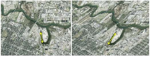 "Two side-by-side panels give different views of an aerial photo of a river. The difference in the photos is in the left one; what is ""north"" in the right photo is pointed more up and to the left. The left map also looks stretched compared to the right, due to the differing projection method."