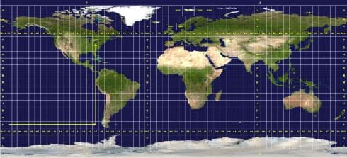The Earth is shown as if rolled out onto a rectangular canvas.  Over the continents and oceans is a yellow rectangular grid with letters in the row and numbers in the columns.