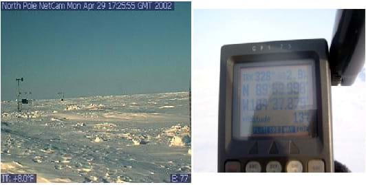 Two photos: A brightly lit icescape with human footprints and some weather monitoring apparatuses in the near and far fields. The digital display screen and buttons of a handheld plastic GPS device.