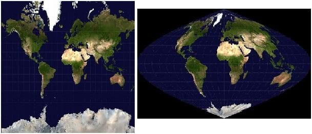 Two side-by-side panels give different views of Earth in flat space. The left panel is square and filled with continents and ocean. The right panel shows the globe in only part of the frame with clear shape distortion and the poles as single points.
