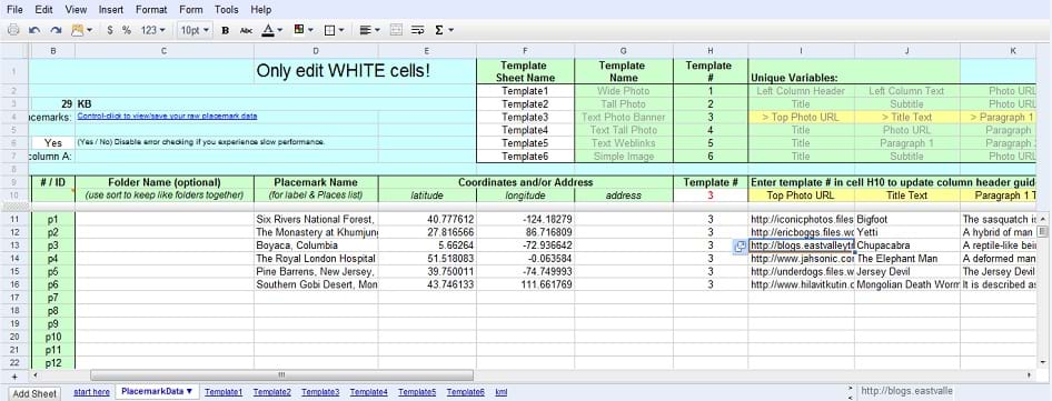 A window from a web browser. In the window is an online spreadsheet program that has various colored cells that mark where data should go and where template information is contained for map placemarks. The list of cryptids, their location names, and their location coordinates are clearly visible on the data sheet.