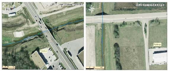 Two side-by-side panels show aerial photos with greenish water in natural channels.  Each location is crossed by a bridge, and a green dot marks the central position of the plastics survey location.