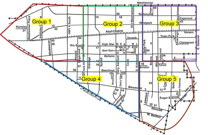 A line drawing map of part of a town, showing the main streets with street names. Colored lines (red, green, purple, blue, dark red) divide the map into five portions, labeled as groups 1-5.