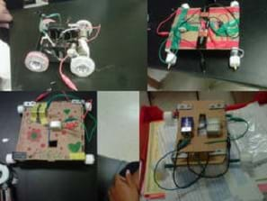 Four photos show model vehicles made from materials such as cardboard, metal, wires, tape, batteries.
