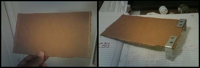 Two photos: A hand holds a rectangular piece of brown corrugated cardboard. The same cardboard pice with two L-shaped brackets glued to two corners of the piece of cardboard.