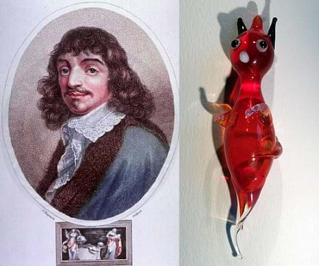 A portrait of René Descartes, a man with a mustache and long curled dark hair. A small hand-blown red glass toy Cartesian devil diver.