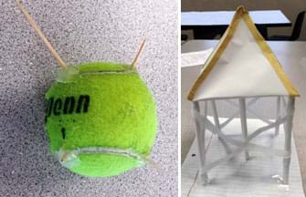 Two photos. A model composed of toothpicks glued to a tennis ball to symbolize an above-ground storage tank on legs or with spikes to protect it from debris. A model made of white copy paper, lined notebook paper and tape. The folded and rolled paper model resembles a house on stilts with a square-based pyramid-shaped roof. The square pyramid is the storage tank and the stilts protect the tank from storm surges during flood events.
