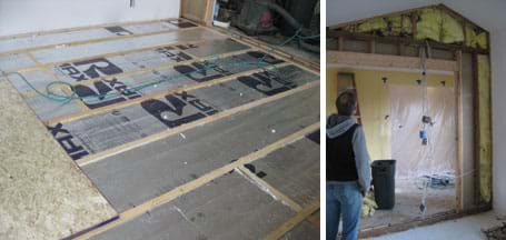 Two photos: (left) The space between wooden floor joists is filled with R-12 rigid foam insulation with a reflective barrier. (right) A man looks at yellow fiberglass batting filling the spaces between wooden wall studs.