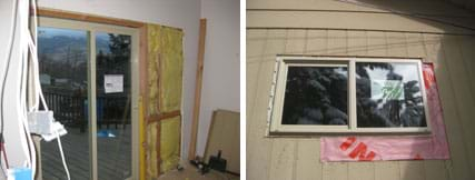 Two photos: (left) A room with an exterior glass sliding door and an unfinished wall showing fiberglass insulation between the wooden studs. (right) Exterior view of a window of a house, showing a vapor barrier around the window opening, that will be covered by siding and paint.