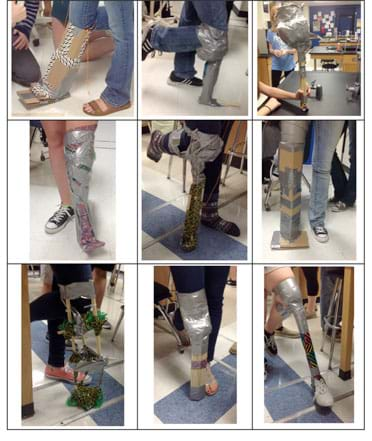 Nine photographs show examples of the replacement knee-to-foot limbs made from cardboard, duct tape, string, wood and zip ties. The prostheses are attached to bent knees using tape and/or string.