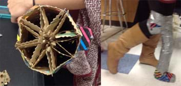 Two photographs: View of an eight-spoked wheel-shaped geometric structure made of cardboard packing material composing the inside of a prosthetic leg design. With a bent knee taped into the same completed prosthetic limb, a student takes a step.