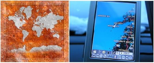 Two photos: A map of the world in Mercator projection with latitude and longitude made to look like different pieces of iron. A GPS unit being used in a car traveling somewhere in Norway judging by the road map track on the screen.