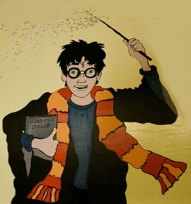 An artists' rendering of the boy wizard, Harry Potter, with a striped scarf, round glasses, book of spells, forehead scar and wand held high.
