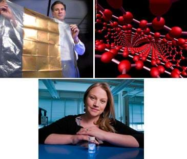 Three images: 1) a man holds a thin plastic sheet covered with a gold surface material, 2) a drawing of what looks like a long net of red dots and white connectors, and 3) a woman sits at a table with a small jar of liquid.
