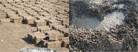 Two photographs show example composite materials. Rectangular block bricks composed of clay and straw dry on the ground in the sun. A wet mass of concrete composed of Portland cement and gravel.