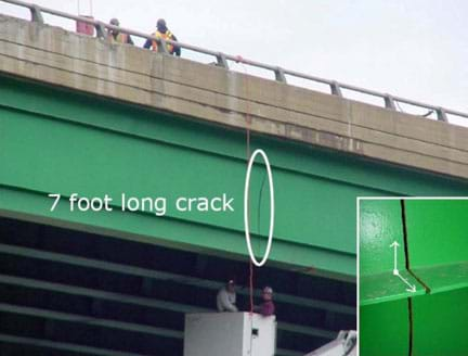 A photograph shows a 7 foot crack in the bridge girder under the roadway (deck) of a steel and concrete bridge structure.
